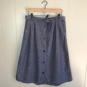 Old Navy | Front Button Blue Denim Midi Skirt